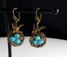 Vintage Broze Bird Egg Nest Turquoise Earrings by ManoCelebrates, $18.00