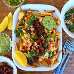You're guaranteed to go back for more! Pork Belly Burnt Ends, Bbq Seasoning, Cheesy Sauce, Melted Cheese, Chutney, Guacamole, Fries, Good Food, Dinner