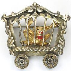 Coro Walt Disney Productions 'Dumbo Jewelry' Monkey in Railcar Cage Pin 1941