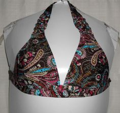 LUCKY BRAND Women Bikini Top Size S Halter Style Brown Paisley Wood Beads EUC #LuckyBrand #BikiniTop