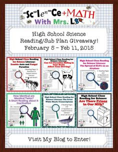 Science and Math with Mrs. Lau: 6 High School Science Readings Bundle Giveaway!  Enter to win 6 readings based on real scientific research!