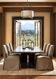 dining room with view to landscape