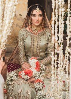 Zainab Reza setting the style quotient high and serving summer fashion goals in our bestseller piece from Ghuncha Gul. Asian Bridal Dresses, Bridal Mehndi Dresses, Nikkah Dress, Pakistani Wedding Outfits, Bridal Dress Design, Pakistani Wedding Dresses, Bridal Outfits, Pakistani Suits, Pakistani Bridal Couture