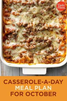 Casserole-a-Day Meal Plan for October No need to worry about what's for dinner; we've got it all planned out! Check out these casserole recipes—one for each day of October—that will satisfy the whole family. Fall Recipes, Beef Recipes, Dinner Recipes, Cooking Recipes, Healthy Recipes, Cooking Ham, Meatloaf Recipes, Dinner Menu, Dip Recipes