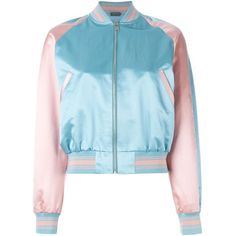 Alexander McQueen embroidered bomber jacket found on Polyvore featuring outerwear, jackets, alexander mcqueen, blue, bomber, bomber jacket, stand up collar jacket, blue bomber jacket, long sleeve jacket and blue jackets