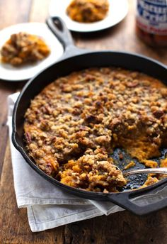 Sweet Potato Casserole with Pecan Crumble - a holiday favorite that takes less than 10 minutes to prep.