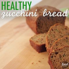 In this Healthy Zucchini Bread, whole-wheat pastry flour gives the recipe a nutty goodness while the apple butter provides a natural sweetness! Food Network Recipes, Gourmet Recipes, Baking Recipes, Healthy Recipes, Healthy Foods, Healthy Treats, Healthy Baking, Zucchini Bread Recipes, Healthy Zucchini Bread