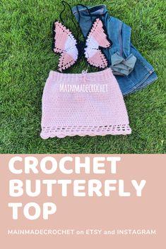 Beautiful handmade crochet butterfly top. Butterfly Top, Crochet Butterfly, Crochet Cow, Free Crochet, Crochet Designs, Crochet Patterns, Hippie Crafts, Crochet Accessories, Beautiful Crochet