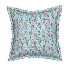 Serama Throw Pillow featuring kawaii girl mermaid in the sea, fish and coral on…