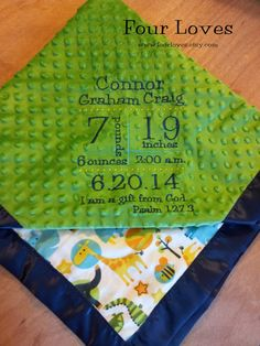 Birth Announcement Blanket by FourLoves on Etsy