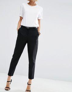 Изображение 4 из Льняные брюки-сигареты с ремнем ASOS