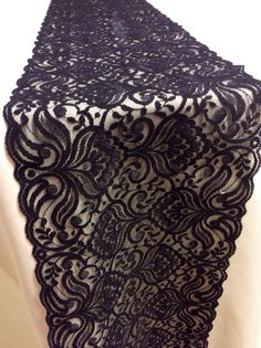 5ft-10ft Black Lace Table Runner, 7in Wide,  Wedding Table Runner, Vintage, Overlay, Black Wedding Decor by LovelyLaceDesigns on Etsy