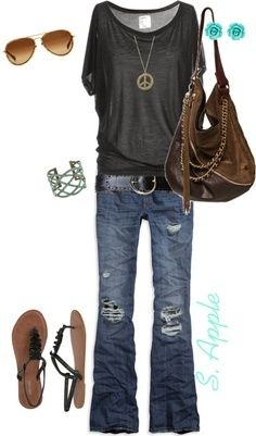 YES YES YES YES.....comfy jeans, awesome flowy boat neck top, great length on the sleeves, easy accessories! Love this outfit!
