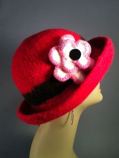 Red Felted Hat by yoursbydesign on Etsy