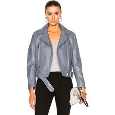Shop for Acne Studios Mock Jacket in Dirty Slate Blue at FWRD. Free 2 day shipping and returns. Grey Leather Jacket, Leather Jacket Outfits, Gray Jacket, Moto Jacket, Leather Jackets, Acne Studios, Paris Fashion, Slate, Sweaters