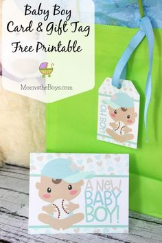 Baby Shower Card and Gift Tag Printable for a new Baby Boy available as a Free download from Mom vs the Boys