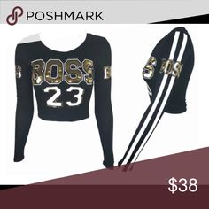 """BOSS Cropped Shirt Royal Blue Cropped """"BOSS"""" Long Sleeve T-shirt. Gold BOSS Lettering. No Trades. No PayPal. Lowest Price Unless Bundled. Tops Tees - Long Sleeve"""