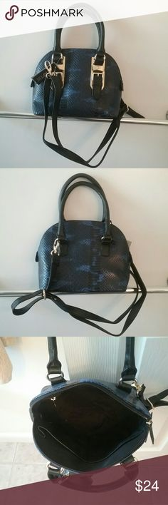"NWT Black/Blue Python Mini Dome Bag Final Price This is a new mini dome bag with removeable and detachable strap. Wear it by the handles or use the strap, so many options.  The measurements are approximately 8 1/2"" long, 7 1/2"" high, and 4 1/2"" wide at the base.  This is a final price item but you can still save 15% when you bundle. Apt. 9 Bags"