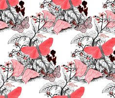 Moth Ridden Botanical ~ Red, Black  ~ by PeacoquetteDesigns on Spoonflower ~ bespoke fabric, wallpaper, wall decals & gift wrap ~ Join PD  ~ https://www.facebook.com/PeacoquetteDesigns