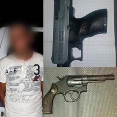 Tras denuncia a través del 911, municipales de Juárez detienen a sujeto con un revólver .38 mm y una pistola calibre .9 mm en la colonia Azteca   El Puntero