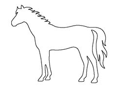 Horse pattern. Use the printable outline for crafts, creating stencils, scrapbooking, and more. Free PDF template to download and print at http://patternuniverse.com/download/horse-pattern/