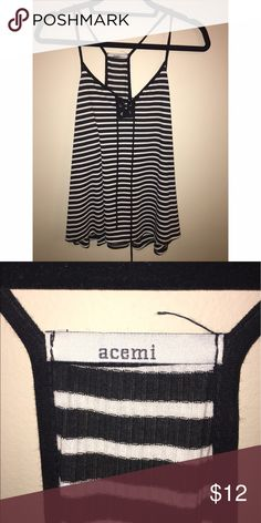 Lace up tank top Striped and lace up tank top. No size listed but fits like a L-XL Acemi Tops Tank Tops