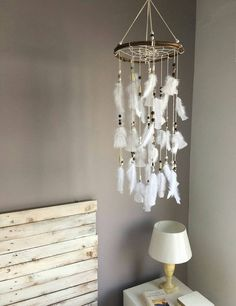 White Dream catcher mobile, white Feather Mobile, Boho dreamcatcher, baby mobile, Nursery Decor for baby, boho baby