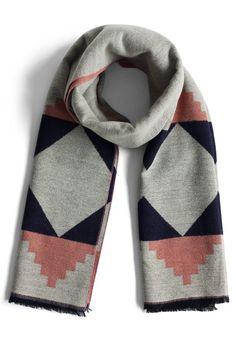 Geo Fun Woolen Scarf in Grey - New Arrivals - Retro, Indie and Unique Fashion
