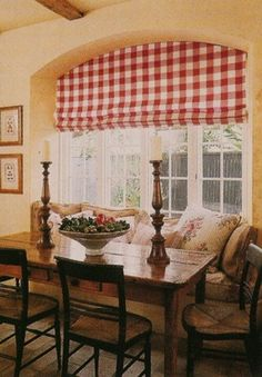 Country French Dining Area with a bold red and white buffalo check valance. pale butter yellow walls, antique table and chairs. Do you like the Country French style? Decor, Home, House Styles, Country Decor, French Country Cottage, House, French Country Kitchens, French Decor, Cottage Decor