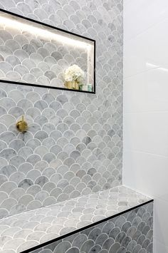 Most Popular master bathroom shower tile white Ideas Grey Bathroom Tiles, Bathroom Tile Designs, Laundry In Bathroom, Bathroom Renos, Bathroom Interior, Modern Bathroom, Small Bathroom, Master Bathroom, The Block Bathroom