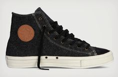 If you haven't picked up a new pair of Chucks recently, it might be time to give yourself a present with these Premium Wool Chuck Hi Tops. The warm, premium wool upper is paired with a brown leather Converse logo and a black leather toe cap. REALLY cool.