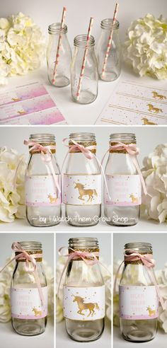 These pretty watercolor and gold unicorn water bottle wrappers are the perfect decoration for a dreamy unicorn birthday party!  The unicorn birthday party water bottle wrappers feature a hand-lettered font in soft pink. Pink, turquoise and purple watercolor paper texture combines with gold foil stars and unicorns to create a magical and dreamy look for your unicorn birthday party.  The water bottle wrappers come in two styles: gold foil unicorn with stars, and watercolor blank/editable t...
