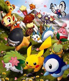 Pokémon - Pikachu and other Generation IV Pokemon Pokemon Go, Pokemon Dolls, Pokemon Fan Art, Pokemon Stuff, Eevee Wallpaper, Cute Pokemon Wallpaper, Digimon Cosplay, Cool Pokemon Wallpapers, Pokemon Official