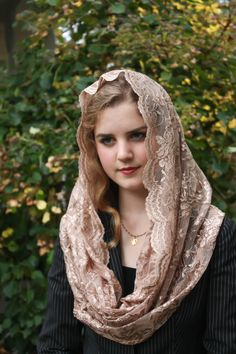 Evintage Veils👰 Our Lady Copper Taupe Embroidered Lace Chapel Veil Mantilla Latin Mass Infinity Veil by EvintageVeils on Etsy Beautiful Muslim Women, Most Beautiful Indian Actress, Beautiful Girl Image, Beautiful Hijab, Madonna, Mantilla Veil, Chapel Veil, Cute Beauty, Just Girl Things