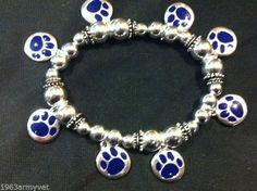NEW University of Kentucky Cat Paw Bracelet Tiger Paw, Memphis Tigers, Blue Tigers, University Of Kentucky, Cat Paws, Bling, Hat, Diamond, Bracelets