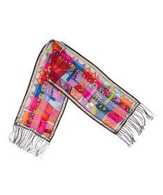 Look what I found on #zulily! Hot Pink Tribal Feline Silk Scarf #zulilyfinds