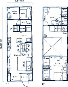 間口2間タイプ間取り図 House Layout Plans, Dream House Plans, House Layouts, House Floor Plans, Narrow House Designs, Narrow Lot House Plans, Small House Design, Drawing House Plans, Modular Home Designs