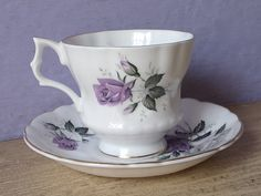 Vintage 1960's Purple Rose tea cup and saucer by ShoponSherman