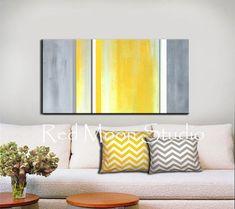 Abstrait Art jaune peinture gris gris - 48 x 24 grand - Original Abstract Painting en jaune & gris gris