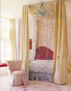 I like the beaded curtain idea, but just know it will be a race to find out whether my child will tear it down or asphyxiate in it first...