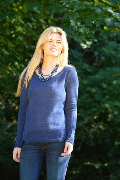 Happy Kinda Life - A wardrobe essential, chic, soft and sumptuous indigo blue jumper, great teamed with your fave denim pieces. You'll love the stylish details: split hem, stitch detail on back and sleeve seams. All this in a luxury but easy care wool, alpaca, acrylic mix.