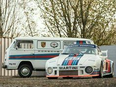 VW Transporter, Porsche Racer both in Martini colours. Porsche 935, Porsche Autos, Porsche Cars, Volkswagen, Vw T1, Porsche Classic, Classic Cars, Sports Car Racing, Sport Cars