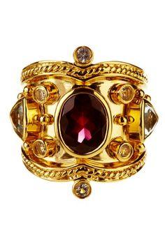 Oval Rhodolite, Aquamarine & White Topaz Tuscany Ring by Savvy Cie on @HauteLook