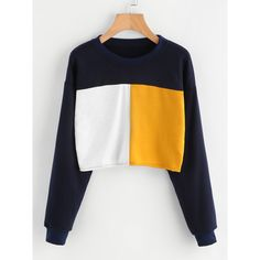 Color Block Sweatshirt ($15) ❤ liked on Polyvore featuring tops, hoodies, sweatshirts, multicolor, long sleeve pullover, long sleeve stretch top, colorblock top, sports sweatshirts and round neck sweatshirt