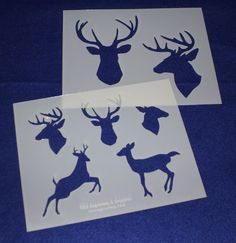 Deer/Buck 2 Piece Stencil Set 14 Mil X Painting /Crafts/ Templates Quilting Frames, Quilting Stencils, Quilting Rulers, Quilting Classes, Quilting Blogs, Quilting Designs, Deer Head Stencil, Stencil Painting, Machine Quilting