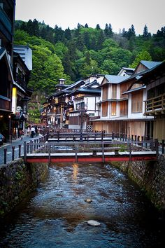 """Ginzan Onsen, Japan. [Ginzan Onsen is an onsen area in Obanazawa, Yamagata Prefecture, Japan.  Onsen means Hot Spring. Ginzan means ""silver mountain"".]"""