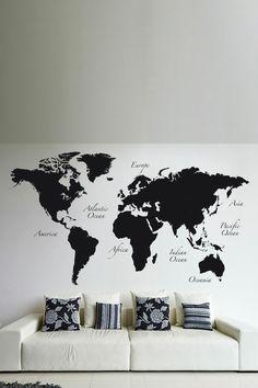World map vinyl wall sticker time zones clocks and graphics weltkarte wand 73 beispiele dass weltkarten dynamik in die innengestaltung bringen gumiabroncs Images