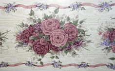 Rose Rapshody Wallpaper Border Print Vtg Roll Floral Shabby Chic Glynda Turley