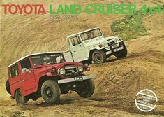 Cover picture from an advertising brochure for the Toyota Land Cruiser, from my collection of auto advertising. Toyota 4x4, Toyota Cars, Toyota Hilux, Toyota Corolla, Toyota Land Cruiser, Land Cruiser 4x4, Best Muscle Cars, Old Classic Cars, Cover Pics