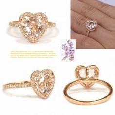 Heart Morganite Engagement Ring Pave Diamond Wedding 14K Rose Gold 9mm